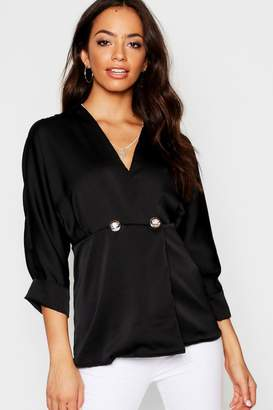 boohoo Woven Military Button Blouse