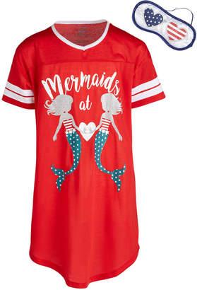 LTB Max & Olivia Little & Big Girls Mermaids-Print Nightgown & Eye Shade