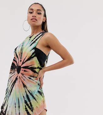 Asos DESIGN Petite bright tie dye tank dress