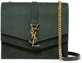 Saint Laurent Sulpice Medium Suede Shoulder Bag - Dark green
