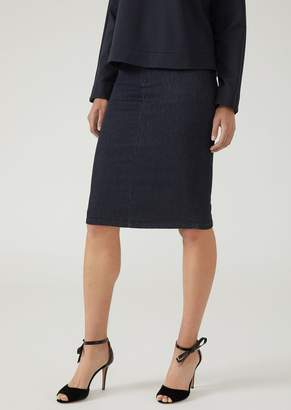 Emporio Armani Pencil Skirt In Denim With Rear Slit