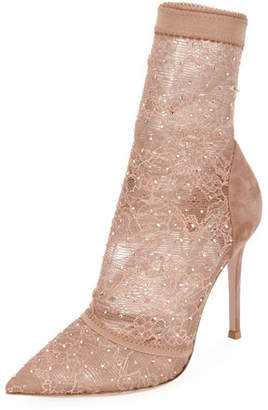 Gianvito Rossi Stretch-Lace and Strass High Booties