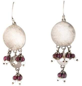 Me & Ro Me&Ro Garnet & Pearl Disc Drop Earrings