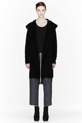 Rick Owens Black merino wool knit Hooded Coat