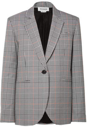 Monse Oversized Embellished Prince Of Wales Checked Woven Blazer - Gray
