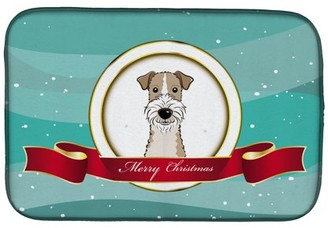 Caroline's Treasures Wire Haired Fox Terrier Merry Christmas Dish Drying Mat