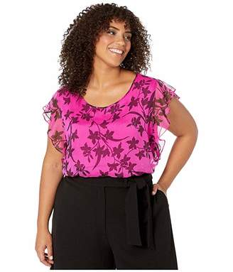 Vince Camuto Specialty Size Plus Size Flutter Sleeve Iris Silhouettes Overlay Blouse