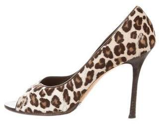 Manolo Blahnik Pony Hair Peep-Toe Pumps