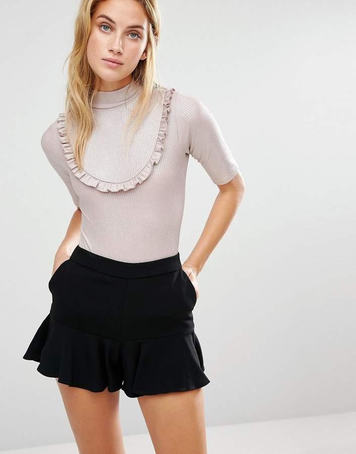 Fashion Union Metallic Frill Short Sleeve Body