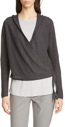Eileen Fisher Organic Linen Knit Hooded Wrap Cardigan