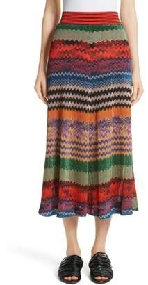 Missoni Metallic Stripe Knit Midi Skirt