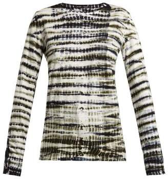 Proenza Schouler Tie Dye Long Sleeved Cotton T Shirt - Womens - Green Print
