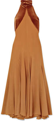 Haider Ackermann Asymmetric Silk Crepe De Chine And Velvet Maxi Dress - Tan