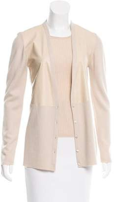 Calvin Klein Collection Leather-Paneled Cardigan Set w/ Tags