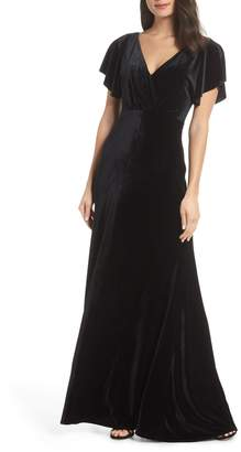 Black Velvet Evening Dresses With Sleeves Shopstyle