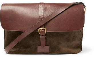 Andersons Anderson's - Suede and Full-Grain Leather Messenger Bag - Brown