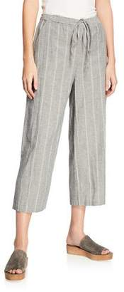 Eileen Fisher Striped Wide-Leg Cropped Drawstring Pants