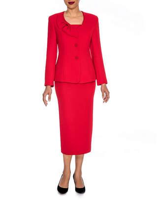 GIOVANNA SIGNATURE Giovanna Signature Women's Mock 3-piece Bow Collar Skirt Suit- Plus