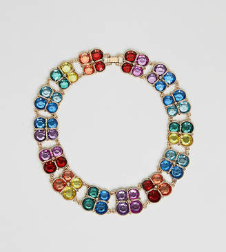 Asos DESIGN Curve Exclusive statement necklace with MULTICOLOR jewels in gold