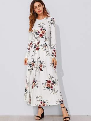 Shein Flower Print Box Pleated Maxi Dress