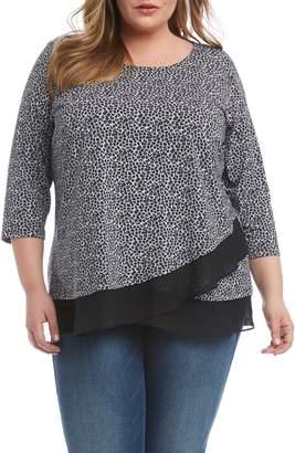 Karen Kane Leopard Print Sheer Hem Crossover Top