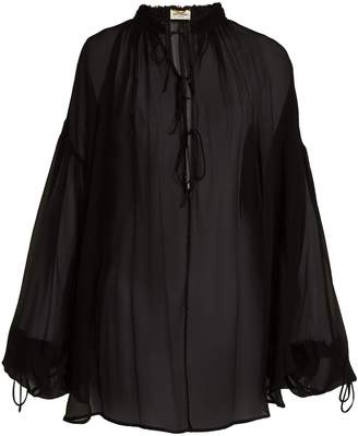 Saint Laurent Blouson-sleeve mousseline-crepe blouse