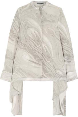 Alexander McQueen - Asymmetric Printed Silk Crepe De Chine Blouse - Gray $1,395 thestylecure.com