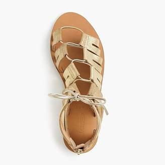 J.Crew Metallic suede lace-up gladiator sandals