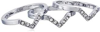 Rebecca Minkoff Antique Rhodium and Crystal Set of Three Stackable Ring