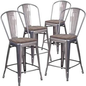 "clear Flash Furniture 4 Pk. 24"" High Coated Counter Height Stool with Back and Wood Seat"
