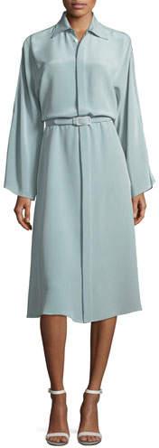 Ralph Lauren Collection Karen Long-Sleeve Belted Silk Shirtdress