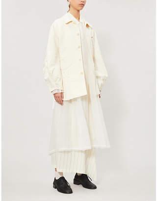 RENLI SU Asymmetric lace-up cotton and linen-blend jacket