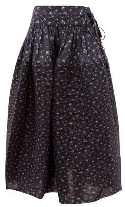 Horror Vacui Toga Pintucked Floral Print Cotton Skirt - Womens - Navy Multi