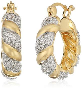 Two-Tone Diamond Accent Hoop Earrings with Gold Overlay (20mm)