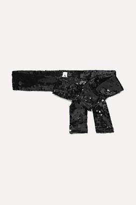 ATTICO Sequined Chiffon Belt - Black
