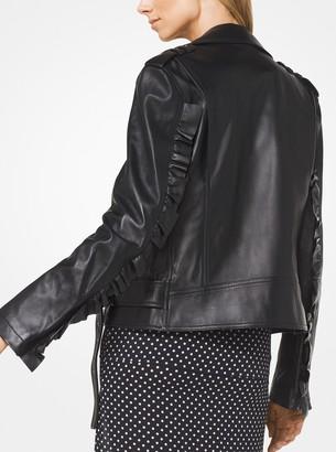 Michael Kors Plonge Leather Ruffle-Sleeve Moto Jacket
