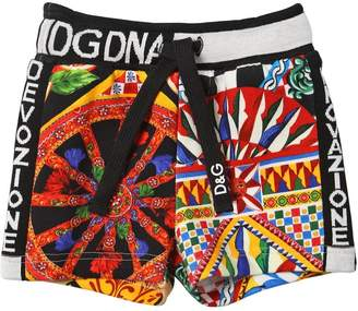 Dolce & Gabbana Carretto Print Cotton Sweat Shorts