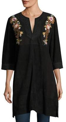 Johnny Was Esmerelda Suede Kaftan Tunic W/ Embroidery , Petite