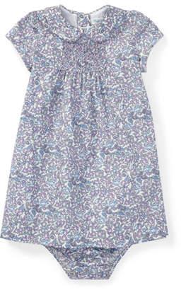 Ralph Lauren Floral Peter Pan-Collar Dress w/ Matching Bloomers, Size 6-24 Months