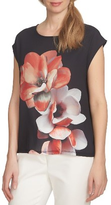Women's Cece Bloom Mixed Media Tee $69 thestylecure.com
