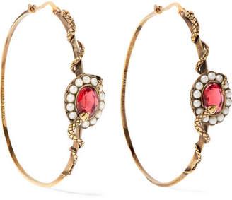 Alexander McQueen Gold-tone, Crystal And Faux Pearl Hoop Earrings