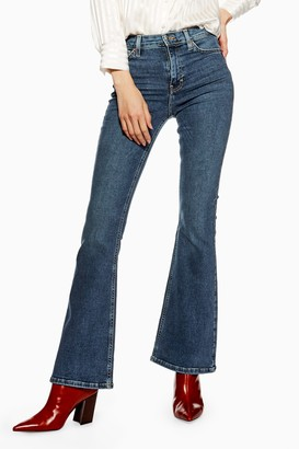 Topshop Womens Mid Stone Flared Jamie Jeans - Mid Stone