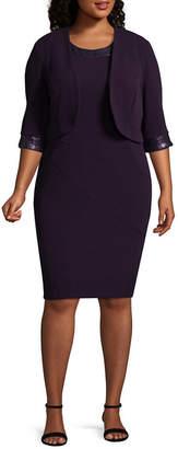 MAYA BROOKE Maya Brooke Sleeveless Beaded Jacket Dress - Plus