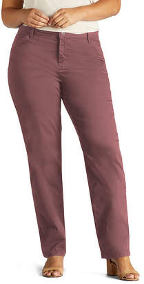 4dd1859f6ba8e Lee Relaxed All Day Pant Womens Mid Rise Straight Flat Front Pant-Plus Short