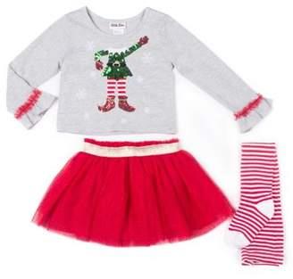 Little Lass Holiday Elfie Selfie Top, Tulle Skirt & Tights, 3-Piece Outfit Set (Little Girls)
