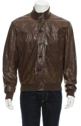 Brunello Cucinelli Rib Knit-trimmed Leather Jacket