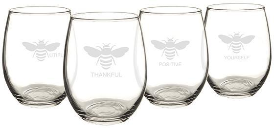 Bee Thankful Stemless Wine Glasses - Set of 4