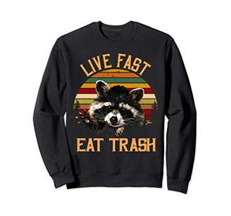 Live Fast Eat Trash Bear Vintage Camping Sweatshirt