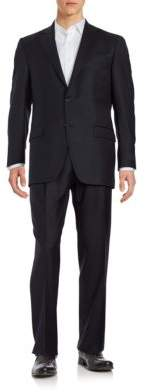 Hart Schaffner Marx Two-Button Navy Wool Suit