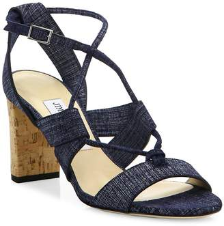 Jimmy Choo Women's Margo Cork-Heel Denim Lace-Up Sandals